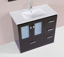 "Hamilton 30"" Espresso Single Modern Bathroom Vanity with Integrated Sink"