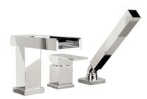 Royal 3-hole deck mounted bath faucet with handheld shower Open Spout Chrome