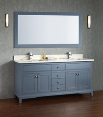 "Argento 72"" Ice Grey Double Sink Bathroom Vanity"