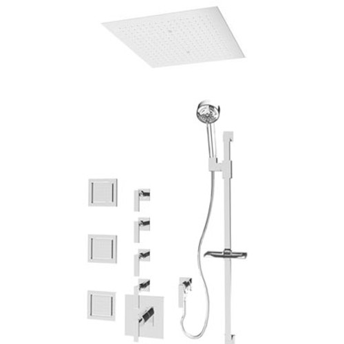 "Rubi Kali 3/4"" Thermostatic Shower with Body Jets & 18 x 18 Flush Rain Head Brushed Nickel"