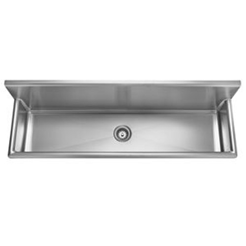 "Kindred WTS72-1 Single Bowl Wall Mount Trough Sink, No-Hole, 3-1/2"" Waste, 16 Gauge Stainless Steel, Satin"