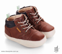 Tip Toey Joey Baby Boots - DANUBY - Aged Brown / Ash Sizes 20-24EU www.classytots.com.au