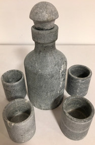 Soapstone Bottle & Shot Glasses Set