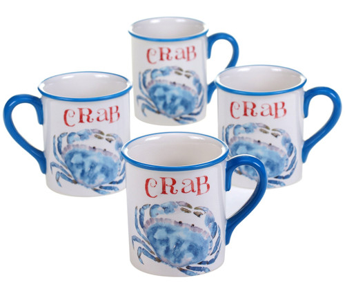 Beach House Kitchen Blue Crab Mugs Set of 4 Ceramic 18 Ounces Coastal Sea Life