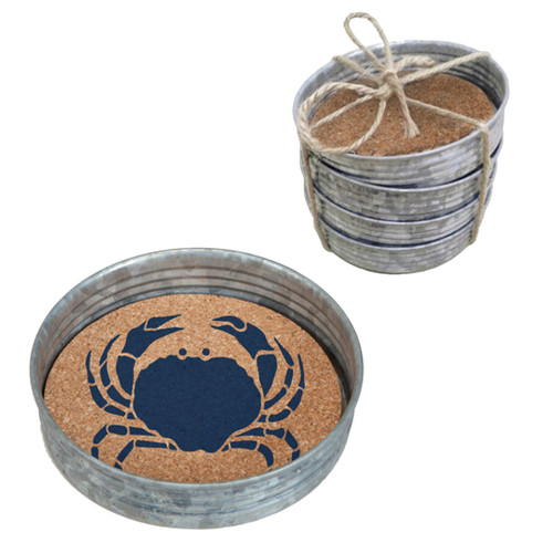 Blue Crab Vintage Look Mason Jar Lids Coasters Galvanized Metal Cork Set of 4