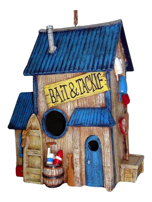 Bait and Tackle Shop Birdhouse 10 Inch Resin Shaped Backyard Bird Garden Decor