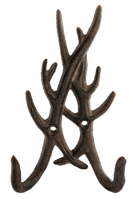 Cast Iron Deer Antlers Wall Hook Hanger Antiqued Brown Finish