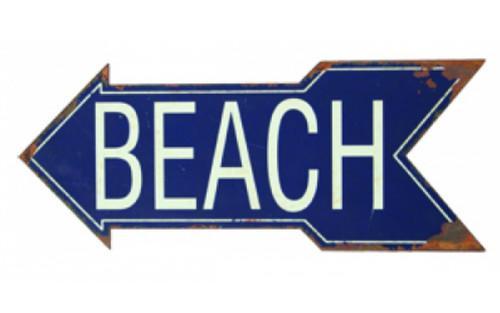 Beach Directional Arrow Tin Sign 18.5 Inch Wall Plaque
