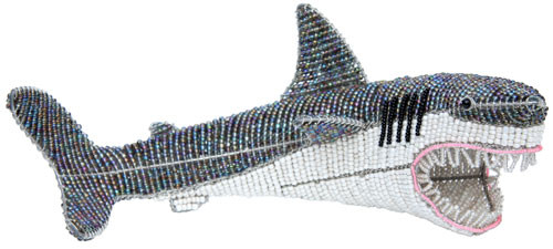 Great White Shark Beaded Wire Sculpture