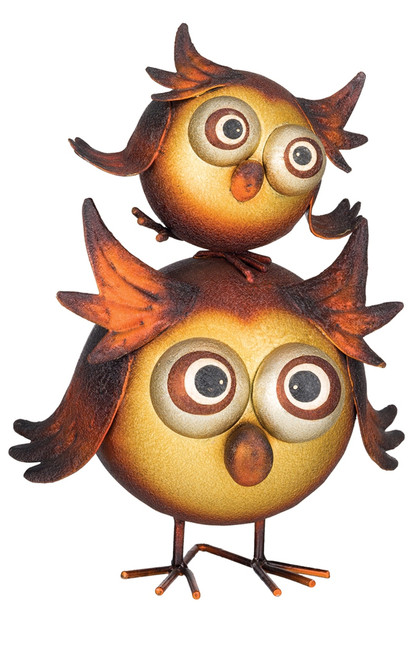Baby Hootie Owl Stacked Big Owl Metal Figurine Tabletop Decor