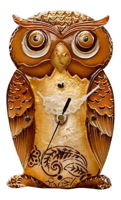 Decorative Capiz Shell Hoot Owl 7.5 Inch Battery Operated Desk Clock