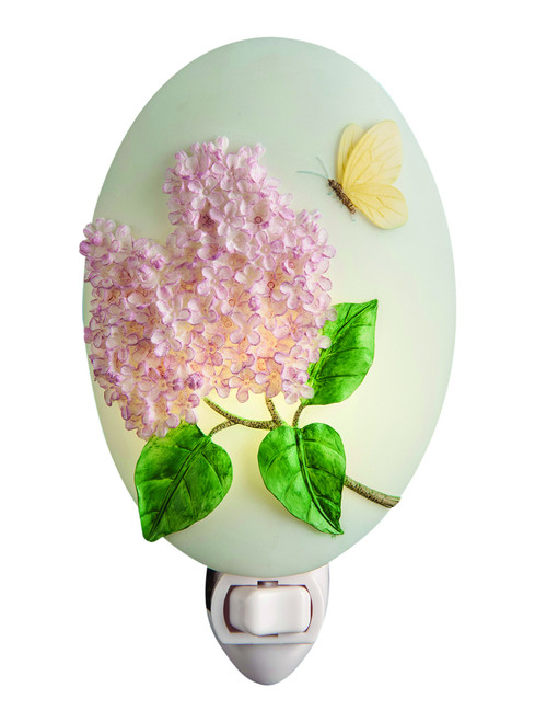 Sweet Smelling Lilac Flowers Night Light Purple Spring Flowers and Butterfly