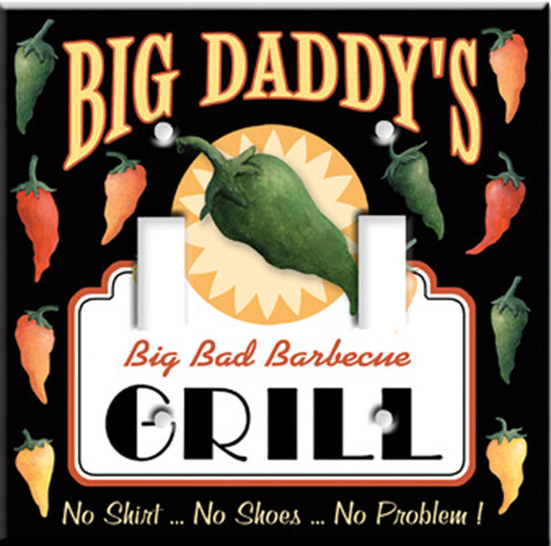 Big Daddy's Grill BBQ Bar-b-Q Double Switchplate Cover