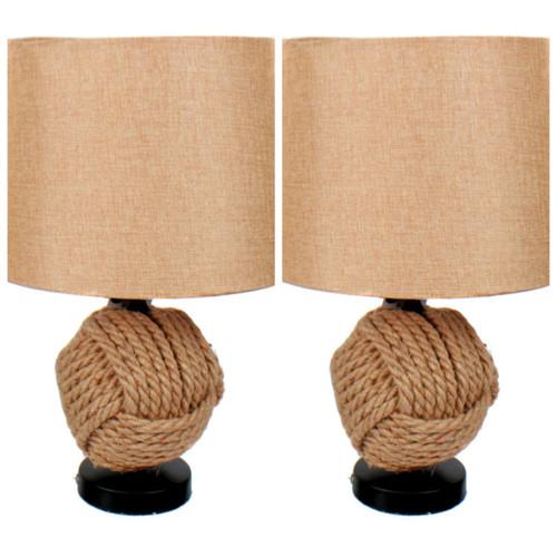 Jute Monkeys Fist Tabletop Desk Lamps 20 Inches 60 Watt Set of 2