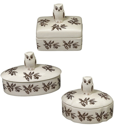 Brown and White Owl Trinket Boxes Assorted Set of 3 Andrea by Sadek