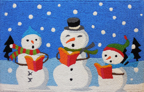 Caroling Snowman Family Royal Blue 33 X 21 Inches Area Accent Rug