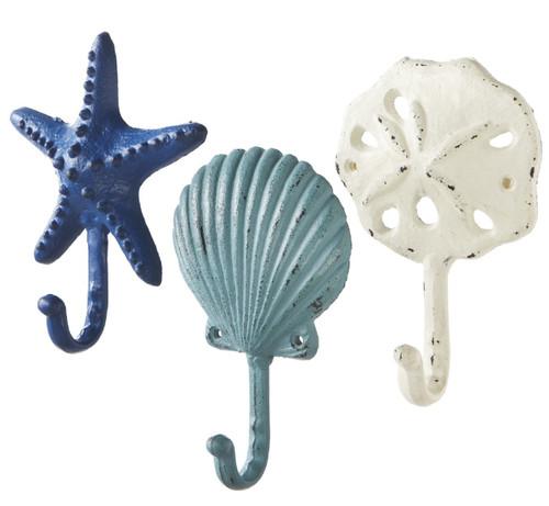 Blue White Shell Starfish Sand Dollar Wall Hooks Set of 3 Distressed Cast Iron