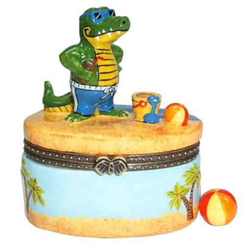 Alligator Beach Club Porcelain Hinged Trinket Box phb