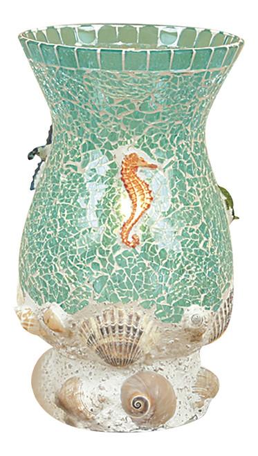 Aquamarine Shells Seahorse Mosaic Glass Desk Table Uplight 10.75 Inch