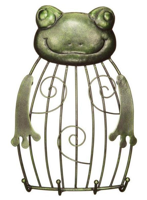 Green Frog Artistic Animal Bird Cage Design Photo Holder and Keyring Hooks