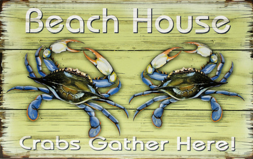 Beach House Crabs Gather Here Printed Wood Sign 15.75 Inches