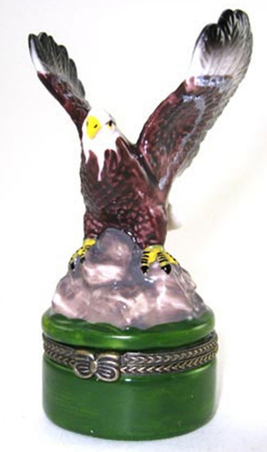 American Bald Eagle Hinged Trinket Box phb