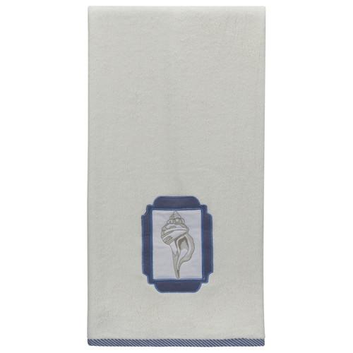 Elegant Seaside Shell Embroidered Bathroom White Bath Towel