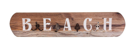 Beach Sign Quad Hooks Wood Wall Plaque 27.75 Inches
