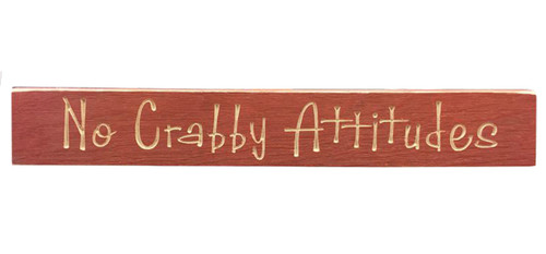 No Crabby Attitudes Barnwood Sign Wall Plaque 24 Inch Sign