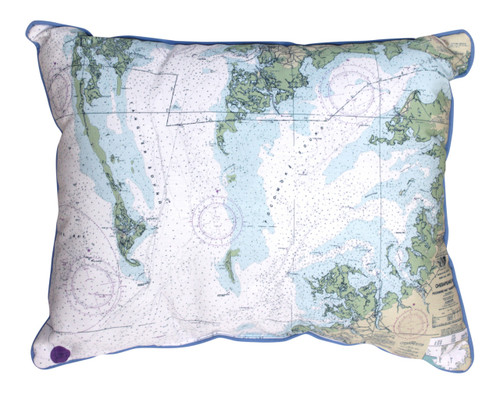 Chesapeake Bay Map 20 x 16 Inch Large Indoor Outdoor Pillow Betsy Drake Design