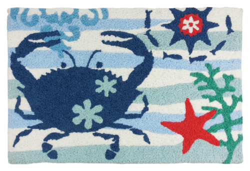 Blue Crab and Red Starfish 33 X 21 Inches Area Accent Washable Rug