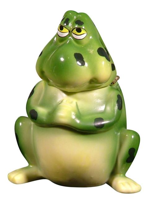 Cute Green Frog Froggy Hinged Trinket Box