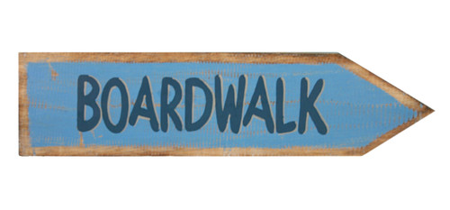 Boardwalk Directional Arrow Wood Wall Plaque 18 Inch Blue Sign