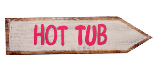 Hot Tub Directional Arrow Wood Wall Plaque 18 Inch White and Pink Sign