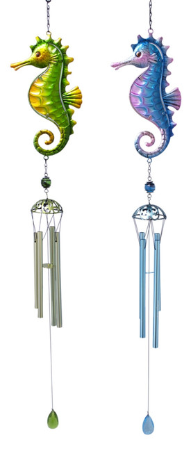 Blue and Green Seahorses Wind Chimes Set of 2 Metal and Glass