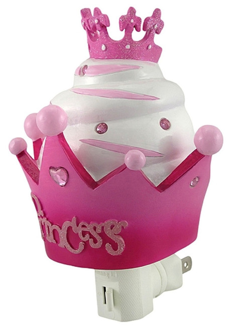 Little Lady Pink Princess Crown Cupcake 6 Inch Night Light