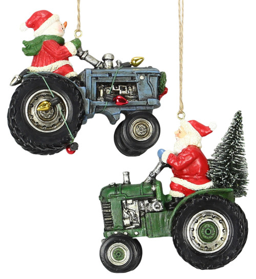 Christmas Santa  and Snowman On Tractor Christmas Holiday Ornaments Set of 2