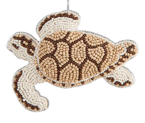 Bahamas Beaded Sea Turtle 5.5 Inch Fabric Christmas Holiday Ornament