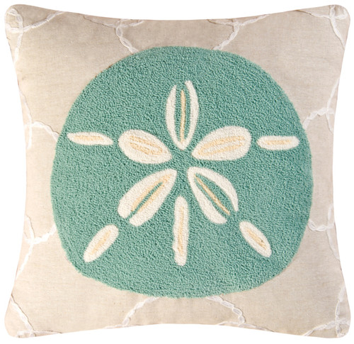 Coastal Aqua Sand Dollar 18 Inch Square Tufted Accent Throw Pillow