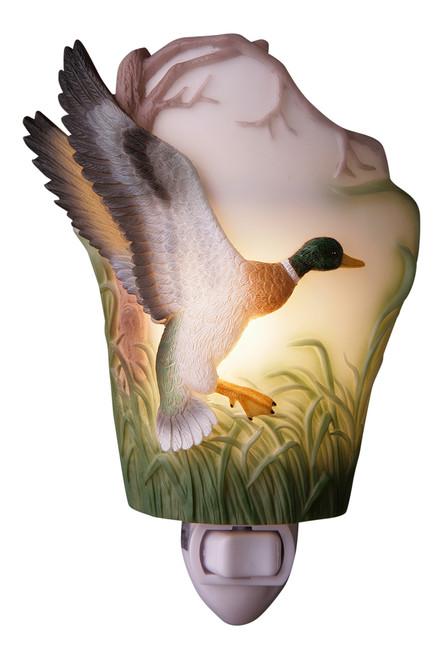 Duck Night Light Woodland Mallard in Flight Bonded Marble