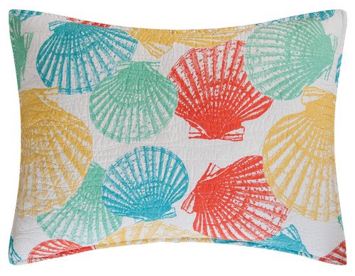 Captiva Island Shells Teal Yellow Green White Standard Pillow Sham 26 X 20 Inch