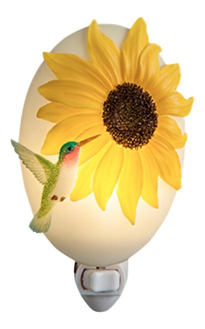 Hummingbird with Sunny Yellow Sunflower Night Light Bonded Marble
