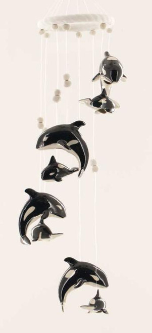 Orca Killer Whale Pair Jumping Wind Chime Garden Decor