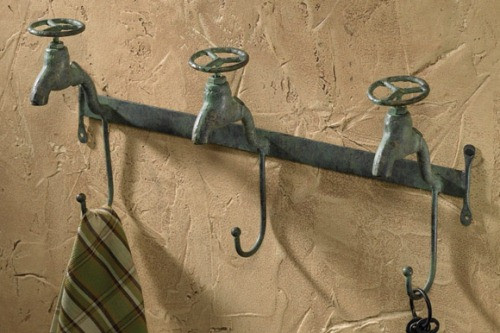 Antiqued Farm House Water Faucets Triple Hooks Metal