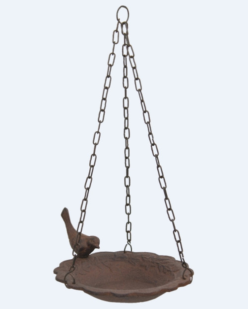 Backyard Bird on Hanging Birdfeeder Rust Brown Cast Iron Garden Decor