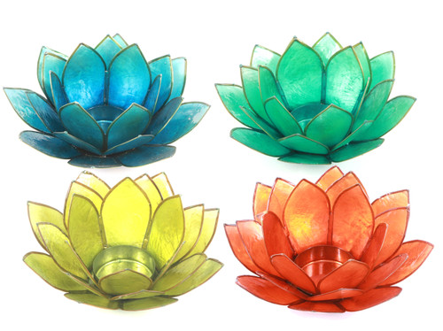 Blue Green Yellow Orange Capiz Shell Lotus Flower Shape Tealight Holder Set of 4