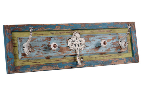 5 Ornate Metal Hooks Mounted on 25 Inch Distressed Wood Retro Chipped Wall Decor