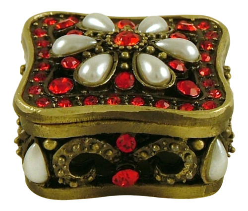Antiqued Brass Red Stone Jewelled Trinket Box
