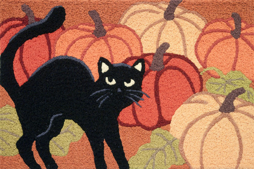 Black Kitty Cat in Pumpkin Patch 33 X 21 Inches Area Accent Rug