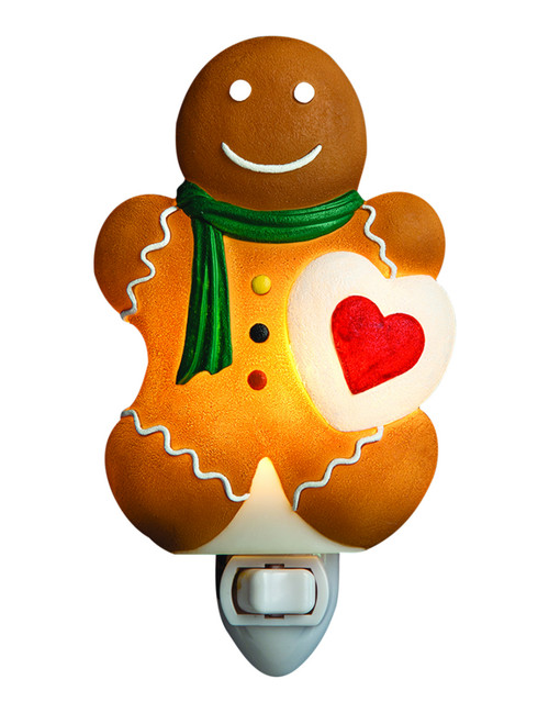 Gingerbread Boy Night Light Bakery Cookie Delight Kitchen Decor Bonded Marble